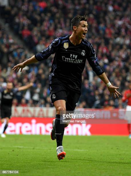 Cristiano Ronaldo of Real Madrid celebrates after he scores his team's 2nd goal during the UEFA Champions League Quarter Final first leg match...