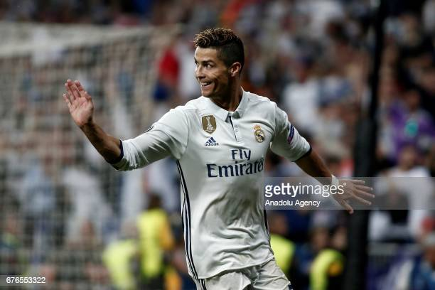 Cristiano Ronaldo of Real Madrid celebrates after scoring a goal during UEFA Champions League semi final match between Real Madrid and Atletico...