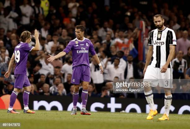 Cristiano Ronaldo of Real Madrid celebrates after scoring a goal during UEFA Champions League Final soccer match between Juventus and Real Madrid at...