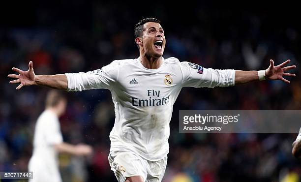 Cristiano Ronaldo of Real Madrid celebrates after scoring a goal during the UEFA Champions League's quarter final soccer match between Real Madrid...