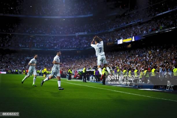 Cristiano Ronaldo of Real Madrid celebrates after scoring a goal during the La Liga match between Real Madrid and Sevilla at Santiago Bernabeu...