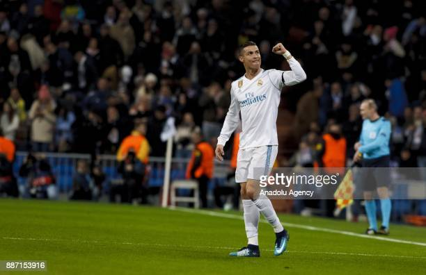 Cristiano Ronaldo of Real Madrid celebrates after scoring a goal during the UEFA Champions League group H match between Real Madrid and Borussia...