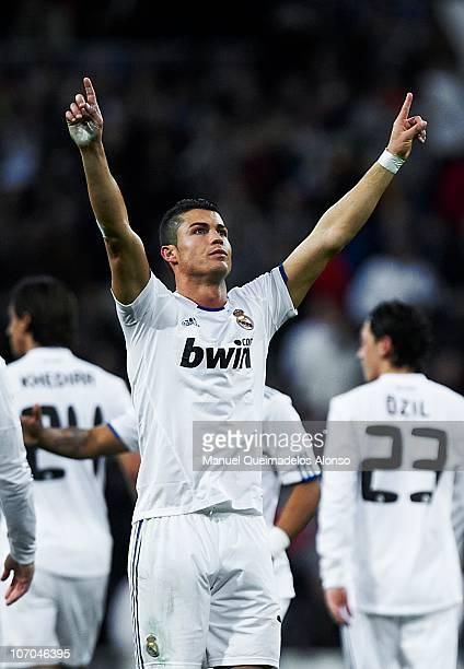 Cristiano Ronaldo of Real Madrid celebrates after scoring during the La Liga match between Real Madrid and Athletic Bilbao at Estadio Santiago...