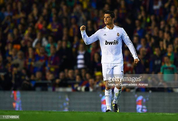 Cristiano Ronaldo of Real Madrid celebrates after scoring during the Copa del Rey final match between Real Madrid and Barcelona at Estadio Mestalla...