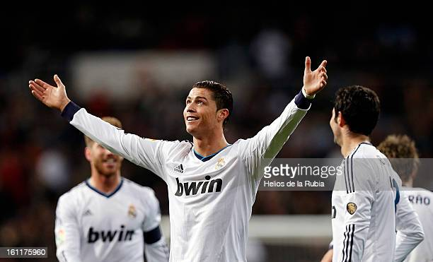 Cristiano Ronaldo of Real Madrid celebrates after scoring during the La Liga match between Real Madrid CF and Sevilla FC at Estadio Santiago Bernabeu...