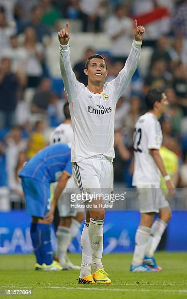 Cristiano Ronaldo of Real Madrid celebrates after scoring during the La Liga match between Real Madrid and Getafe CF at Estadio Santiago Bernabeu on...