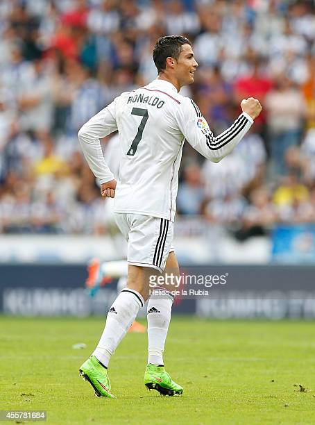 Cristiano Ronaldo of Real Madrid celebrates after scoring during the La Liga match between RC Deportivo La Coruna and Real Madrid at Riazor Stadium...
