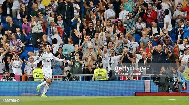 Cristiano Ronaldo of Real Madrid celebrates after scoring during the La Liga match between Real Madrid CF and Elche FC at Estadio Santiago Bernabeu...
