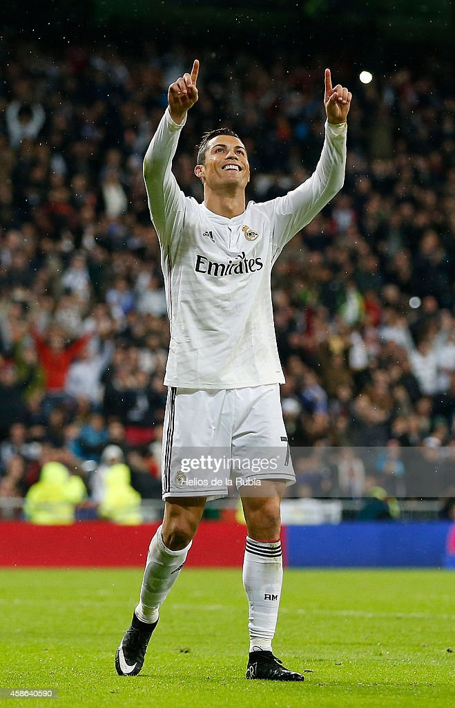 Cristiano Ronaldo of Real Madrid celebrates after scoring during the La Liga match between Real Madrid and Rayo Vallecano at Estadio Santiago Bernabeu on November 8, 2014 in Madrid, Spain.
