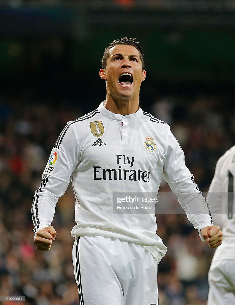 Cristiano Ronaldo of Real Madrid celebrates after scoring during the La Liga match between Real Madrid CF and Villarreal CF at Estadio Santiago Bernabeu on March 1, 2015 in Madrid, Spain.