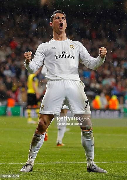 Cristiano Ronaldo of Real Madrid celebrates after scoring during the UEFA Champions League Quarter Final first leg match between Real Madrid and...