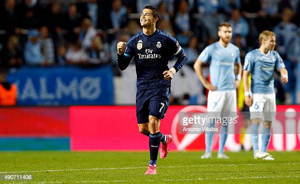 Cristiano Ronaldo of Real Madrid celebrates after scoring during the UEFA Champions League Group A match between Malmö FF and Real Madrid CF at...