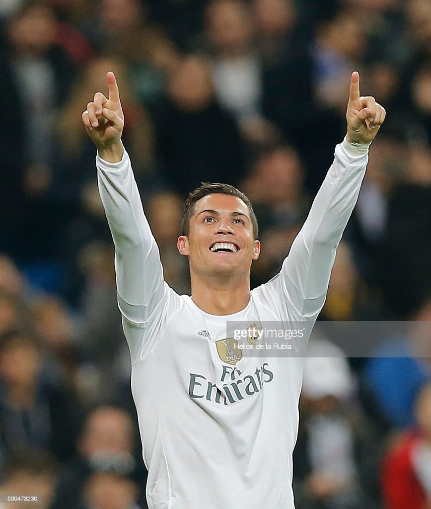 Cristiano Ronaldo of Real Madrid celebrates after scoring during the UEFA Champions League Group A match between Real Madrid and Malmo FF at Estadio Santiago Bernabeu on December 8, 2015 in Madrid, Spain.