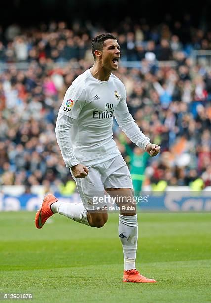 Cristiano Ronaldo of Real Madrid celebrates after scoring during the La Liga match between Real Madrid CF and Celta Vigo at Estadio Santiago Bernabeu...