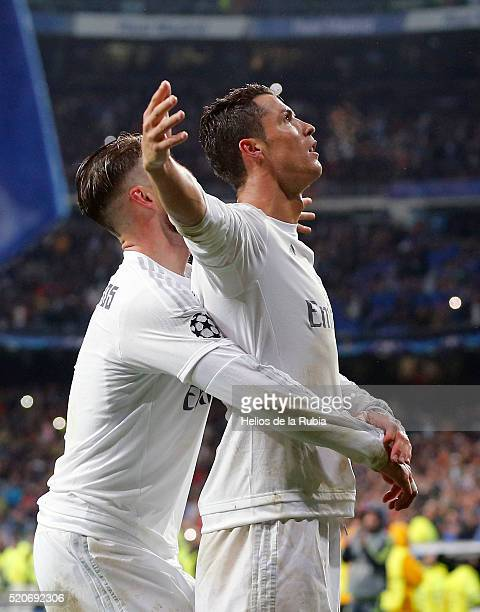 Cristiano Ronaldo of Real Madrid celebrates after scoring during the UEFA Champions League quarter final second leg match between Real Madrid and VfL...