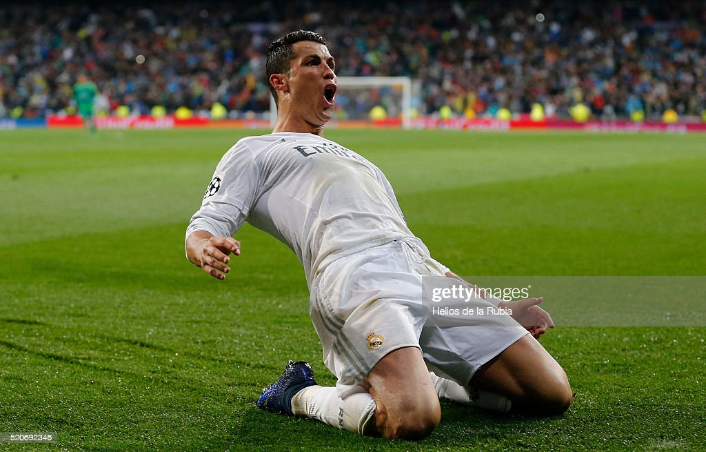 Cristiano Ronaldo of Real Madrid celebrates after scoring during the UEFA Champions League quarter final second leg match between Real Madrid and VfL Wolfsburg at Estadio Santiago Bernabeu on April 12, 2016 in Madrid, Spain.