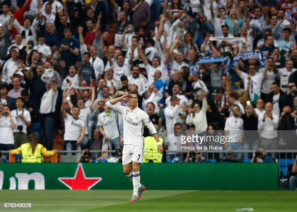 Cristiano Ronaldo of Real Madrid celebrates after scoring during the UEFA Champions League Semi Final first leg match between Real Madrid CF and Club...