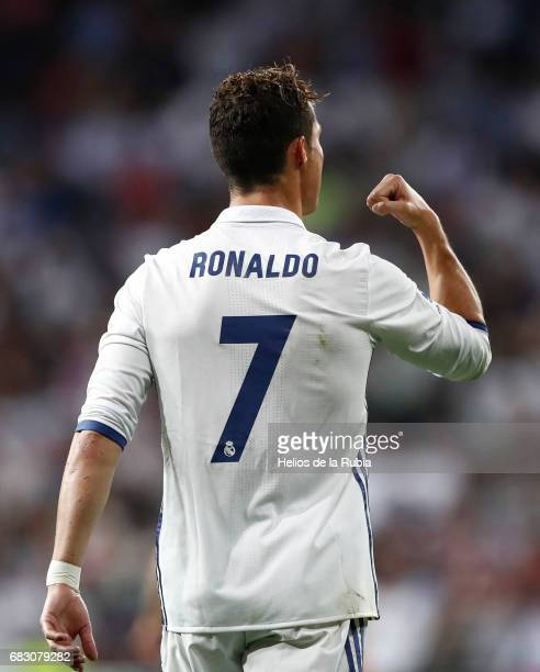 Cristiano Ronaldo of Real Madrid celebrates after scoring during the La Liga match between Real Madrid and Sevilla FC at Estadio Santiago Bernabeu on...