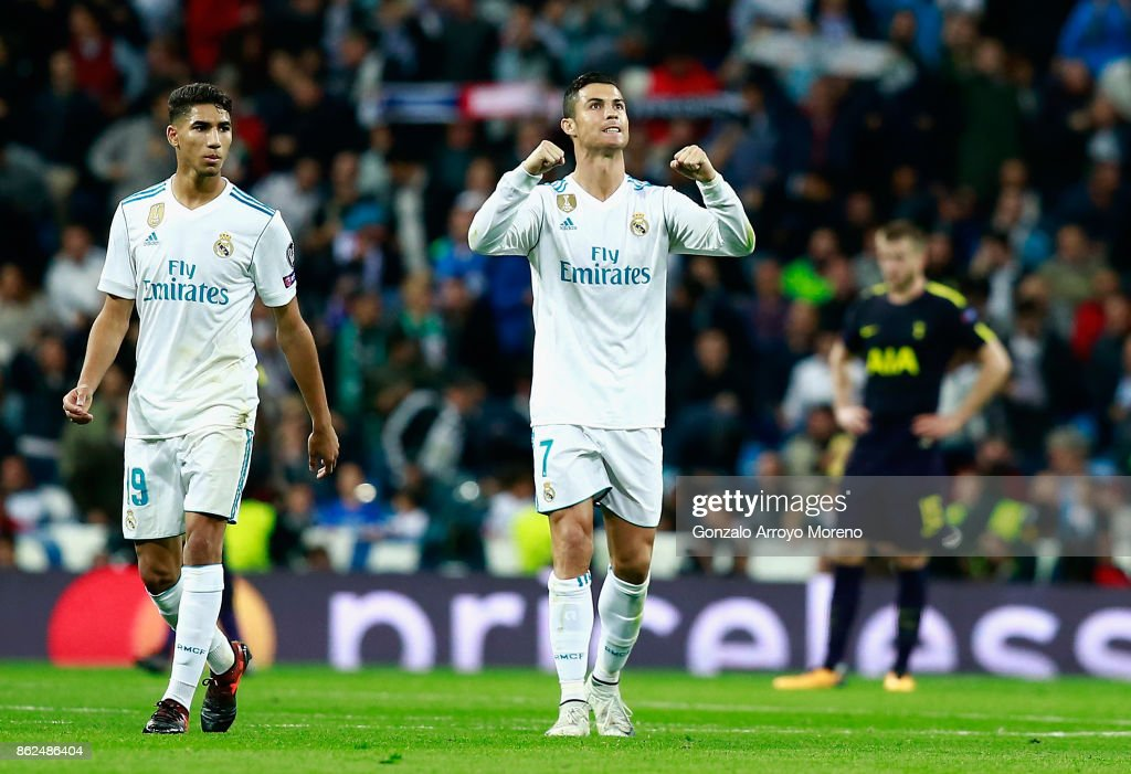 Cristiano Ronaldo of Real Madrid celebrates after scoring during the UEFA Champions League group H match between Real Madrid and Tottenham Hotspur at Estadio Santiago Bernabeu on October 17, 2017 in Madrid, Spain.