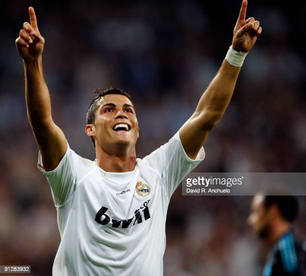 Cristiano Ronaldo of Real Madrid celebrates after scoring during the UEFA Champions League Group C match between Real Madrid and Marseille at...
