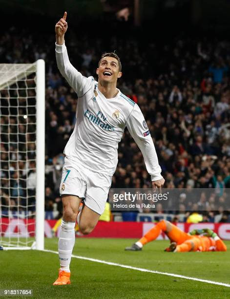 Cristiano Ronaldo of Real Madrid celebrates after scoring during the UEFA Champions League Round of 16 First Leg match between Real Madrid and Paris...