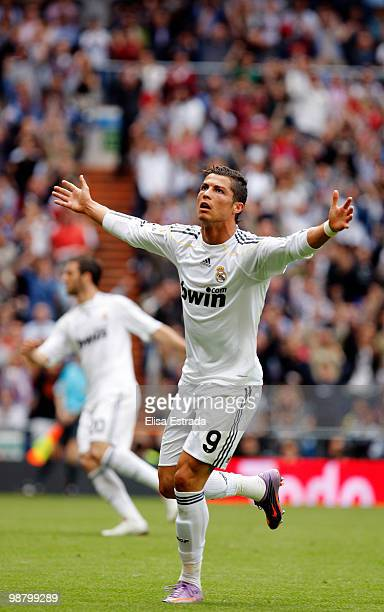 Cristiano Ronaldo of Real Madrid celebrates after scoring during the La Liga match between Real Madrid and CA Osasuna at Estadio Santiago Bernabeu on...