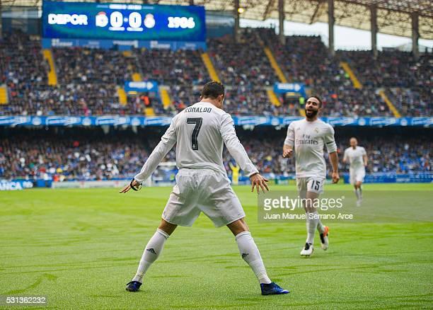 Cristiano Ronaldo of Real Madrid celebrates after scoring goal during the La Liga match between RC Deportivo La Coruna and Real Madrid CF at Riazor...