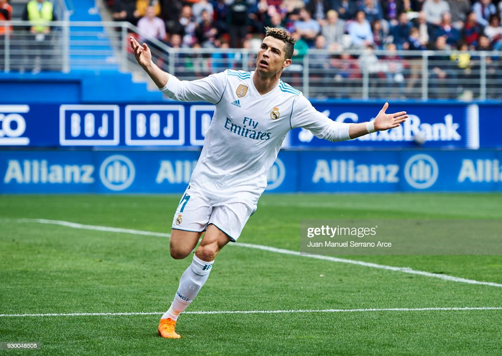 Cristiano Ronaldo of Real Madrid celebrates after scoring goal during the La Liga match between SD Eibar and Real Madrid at Ipurua Municipal Stadium on March 10, 2018 in Eibar, Spain .