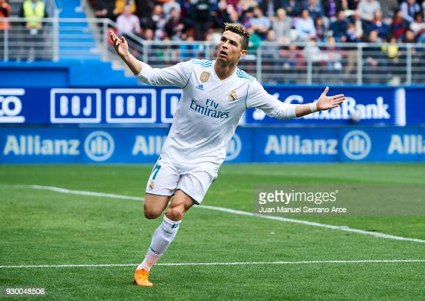 Cristiano Ronaldo of Real Madrid celebrates after scoring goal during the La Liga match between SD Eibar and Real Madrid at Ipurua Municipal Stadium...