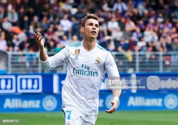 Cristiano Ronaldo of Real Madrid celebrates after scoring goal during the La Liga match between SD Eibar and Real Madrid at Ipurua Municipal Stadium...