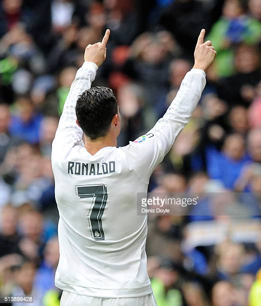 Cristiano Ronaldo of Real Madrid celebrates after scoring his 4th goal during the La Liga match between Real Madrid CF and Celta Vigo at Estadio...