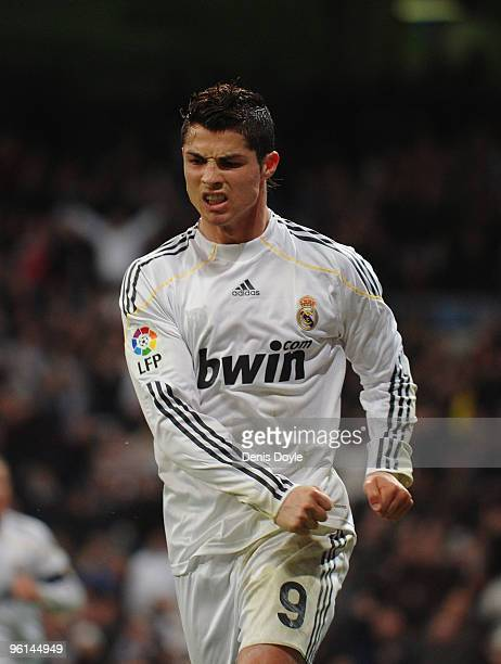Cristiano Ronaldo of Real Madrid celebrates after scoring his first goal for Real during the La Liga match between Real Madrid and Malaga at the...