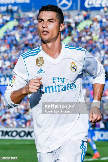 Cristiano Ronaldo of Real Madrid celebrates after scoring his goal during the La Liga 201718 match between Getafe CF and Real Madrid at Coliseum...