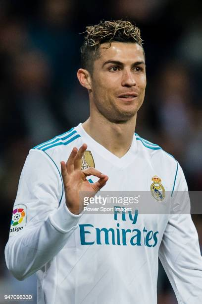 Cristiano Ronaldo of Real Madrid celebrates after scoring his goal during the La Liga 201718 match between Real Madrid and Girona FC at Estadio...