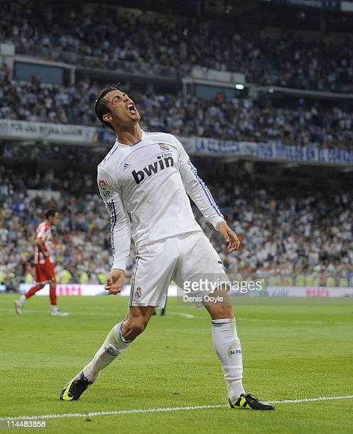 Cristiano Ronaldo of Real Madrid celebrates after scoring his second goal during the La Liga match between Real Madrid and UD Almeria at Estadio...