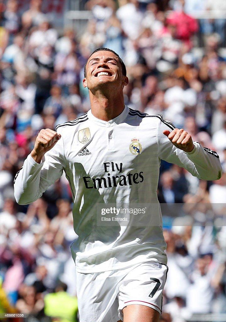 Cristiano Ronaldo of Real Madrid celebrates after scoring his second goal during the La Liga match between Real Madrid CF and Granda CF at Estadio Santiago Bernabeu on April 5, 2015 in Madrid, Spain.