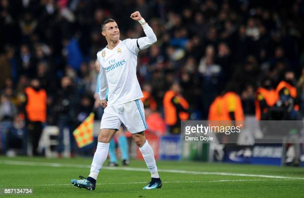 Cristiano Ronaldo of Real Madrid celebrates after scoring his sides second goal during the UEFA Champions League group H match between Real Madrid...