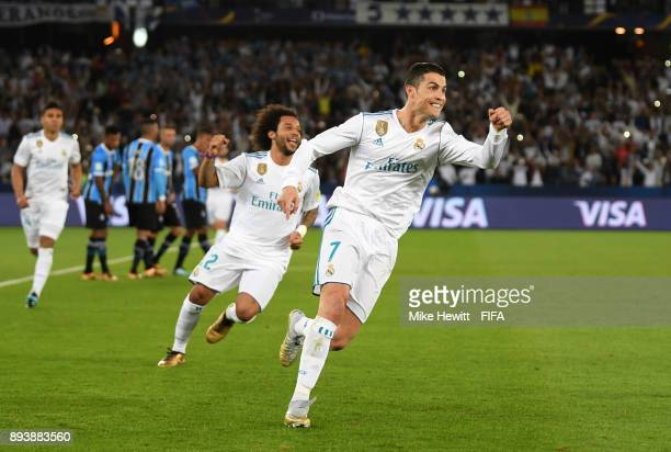 Cristiano Ronaldo of Real Madrid celebrates after scoring his sides first goal during the FIFA Club World Cup UAE 2017 Final between Gremio and Real...