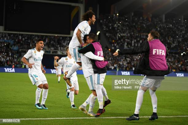 Cristiano Ronaldo of Real Madrid celebrates after scoring his sides first goal with his Real Madrid team mates during the FIFA Club World Cup UAE...