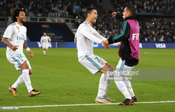 Cristiano Ronaldo of Real Madrid celebrates after scoring his sides first goal Lucas Vazquez of Real Madrid during the FIFA Club World Cup UAE 2017...