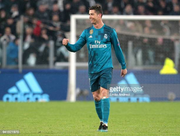 Cristiano Ronaldo of Real Madrid celebrates after scoring his sides second goal during the UEFA Champions League Quarter Final Leg One match between...