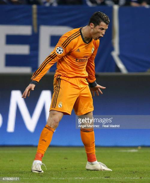 Cristiano Ronaldo of Real Madrid celebrates after scoring his team's sixth goal during the UEFA Champions League Round of 16 first leg match between...