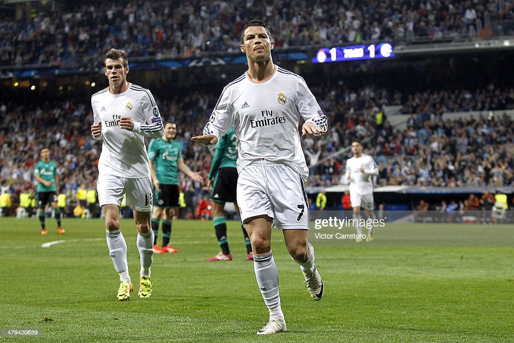 cristiano ronaldo of real madrid celebrates after scoring his team s second goal during the uefa champions