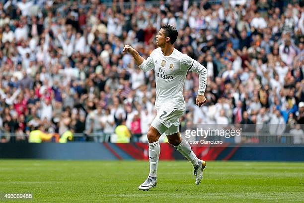 Cristiano Ronaldo of Real Madrid celebrates after scoring his team's second goal during the La Liga match between Real Madrid CF and Levante UD at...