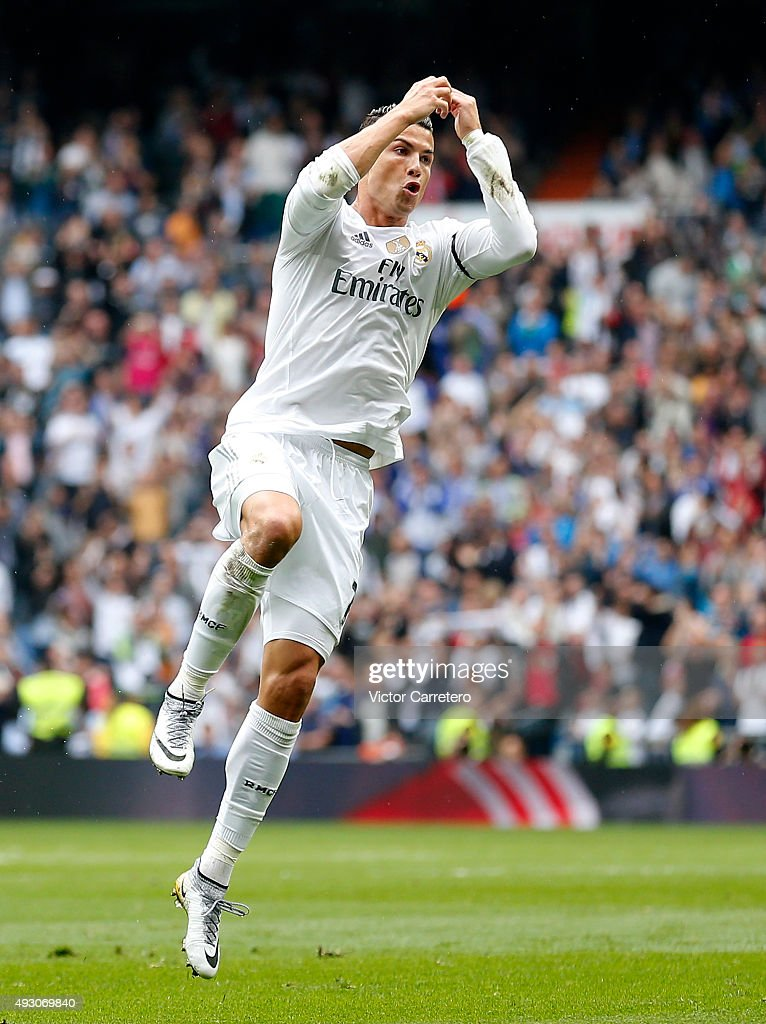 Cristiano Ronaldo of Real Madrid celebrates after scoring his team's second goal during the La Liga match between Real Madrid CF and Levante UD at Estadio Santiago Bernabeu on October 17, 2015 in Madrid, Spain.