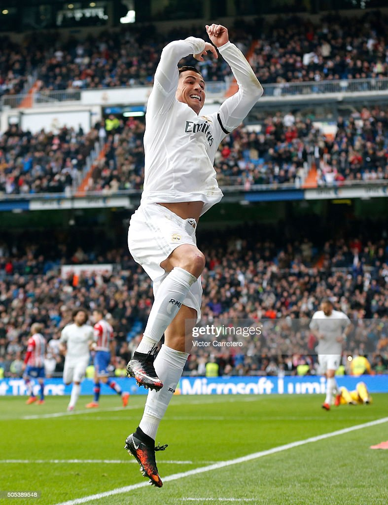 Cristiano Ronaldo of Real Madrid celebrates after scoring his team's fourth goal during the La Liga match between Real Madrid CF and Sporting de Gijon at Estadio Santiago Bernabeu on January 17, 2016 in Madrid, Spain.