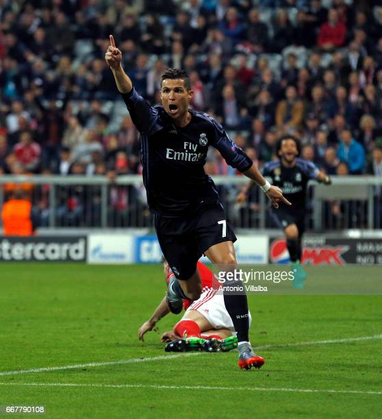 Cristiano Ronaldo of Real Madrid celebrates after scoring his team`s first goal during a training session/press conference at Allianz Arena on April...