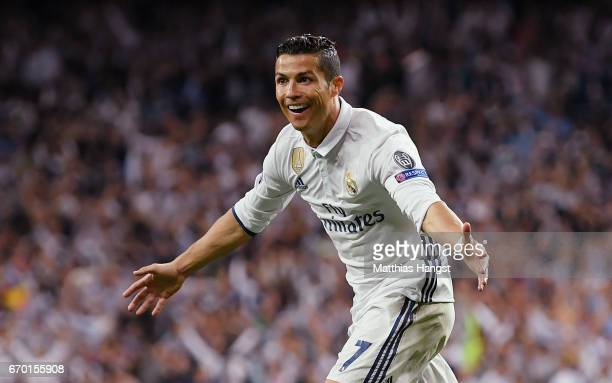 Cristiano Ronaldo of Real Madrid celebrates after scoring his team's second goal during the UEFA Champions League Quarter Final second leg match...