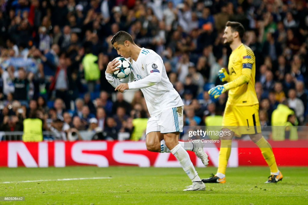 Cristiano Ronaldo of Real Madrid celebrates after scoring his team's first goal during the UEFA Champions League group H match between Real Madrid CF and Tottenham Hotspur at Estadio Santiago Bernabeu on October 17, 2017 in Madrid, Spain.