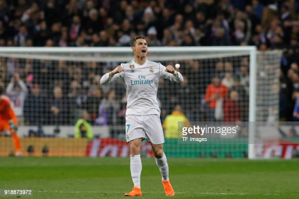 Cristiano Ronaldo of Real Madrid celebrates after scoring his team`s first goal during the UEFA Champions League Round of 16 First Leg match between...